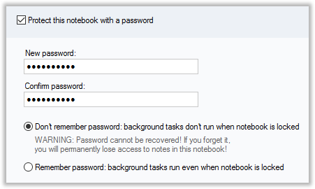 Securing notes in CintaNotes with password protection