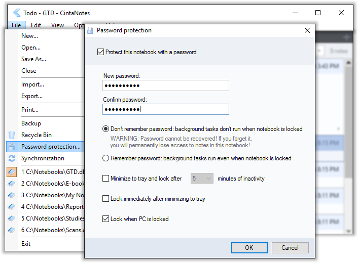 Securing notes with the password protection feature in CintaNotes