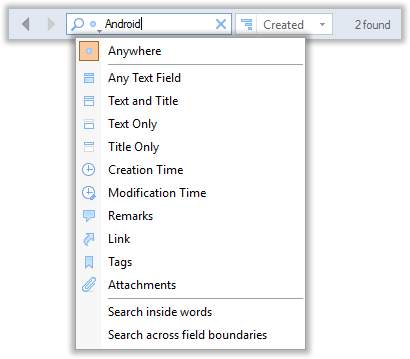 Finding notes with the full-text search